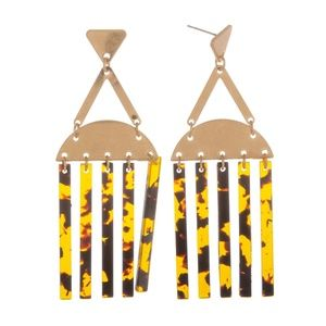 Jewelry - Gold and Acetate Dangle Earrings